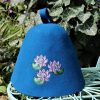 sauna hat with embroidered lilien